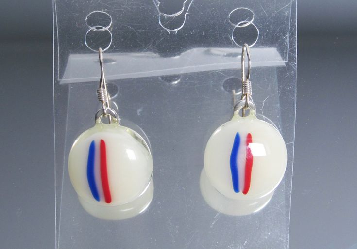 Earrings Fused Glass, handmade glass fusing, France flag, French flag, Euro 2016 soccer, blue white red, country flag, europe by HemBee on Etsy