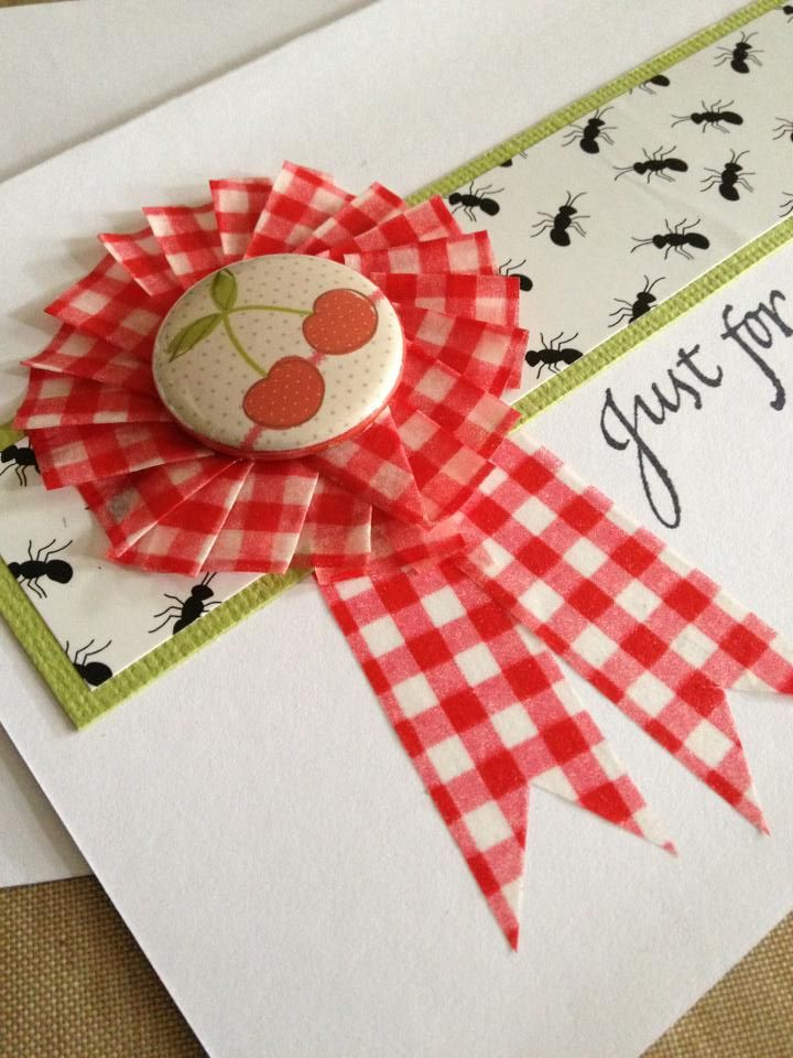 Washi Tape rosette with flair and Picnic Ants Sticky Paper by Jennifer Hodge.    #washitape #stickypaper #flair #sawyersplace
