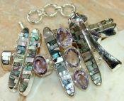 Zilveren edelsteen armband Abalone schelp en Amethist