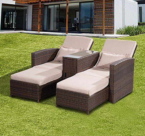 Outsunny Outdoor Garden Rattan Companion Sofa Chair