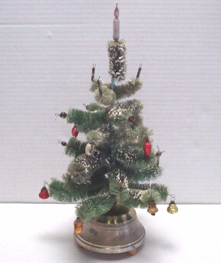 vintage christmas tree bottle brush mercury ornaments rotating musical 14 in - 14 Christmas Tree