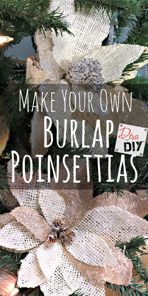 Personalize your Christmas decorations by making your own burlap poinsettias for your Christmas tree ornaments or Christmas decor. Vintage Christmas decor!