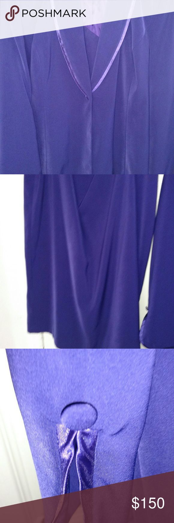A luscious purple suit/Jacket and Skirt. A purple suit/ a polyester suit that feels and looks like silk with satin piping around the front of the suit and the sleeves. The jacket and the suit are lined. The suit is new and the material is soft, beautiful and luscious grape. Dresses Wedding