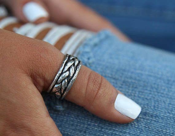 Handmade Boho Sterling Silver Thumb Ring