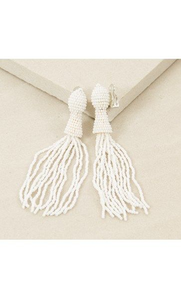 Beaded Tassel Clip On Earring