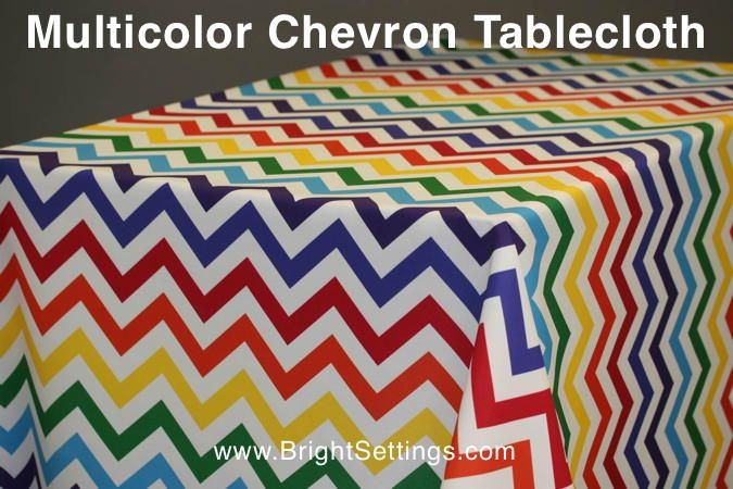 Multicolor Chevron Tablecloth — Introducing the newest member of Bright Settings' custom tablecloth collection – the fun and fantastic Multicolor Chevron Tablecloth! Isn't it awesome?