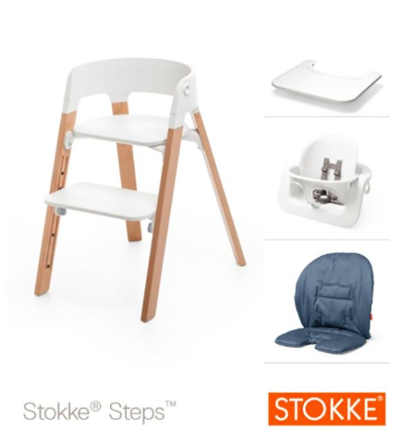 Sedia Stokke Steps con Baby Set + Vassoio + Cuscino http://www.lachiocciolababy.it/bambino/sedia_stokke_steps_-7212.htm