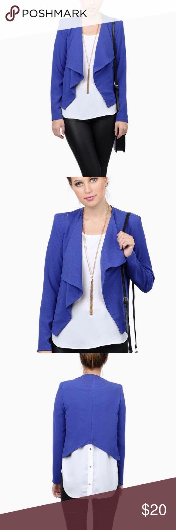 Blue Blazer Blue blazer with removable shoulder pads. Hi-low style. Never been worn. Tobi Jackets & Coats Blazers