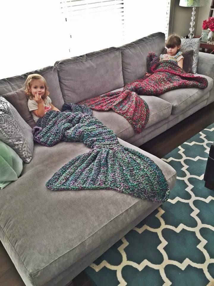 Crocheted mermaid blankets by Blue Eyed Bird Creations on Facebook. Long waitlist; not accepting orders at this time.