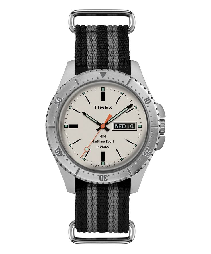 TODD SNYDER Timex + Todd Snyder Maritime Sport MS1 Watch in Silver. #toddsnyder #