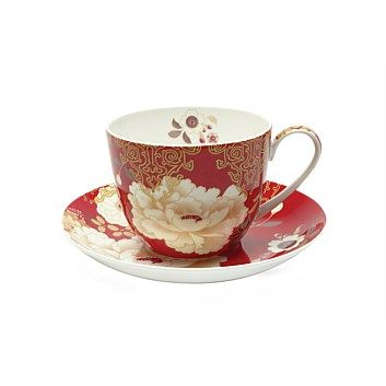 Maxwell & Williams Kimono Breakfast Red Cup & Saucer 480ml