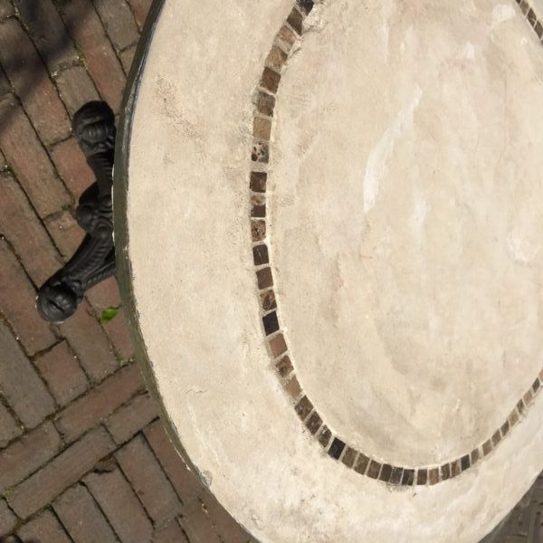 Awesome table made of concrete with inlaid stones. | deTurf