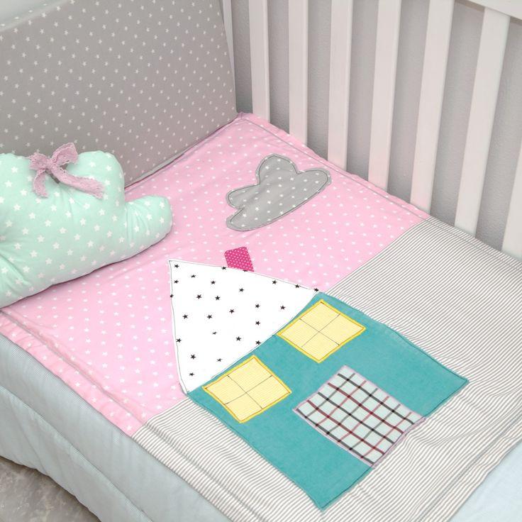 Baby quilts Blanket 100% cotton  Χειροποίητο Κουβερτάκι για νεογέννητα : Σπιτακι