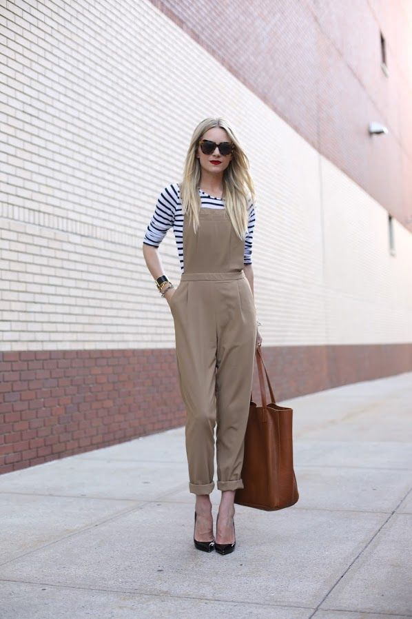 striped top with khaki jumpsuit
