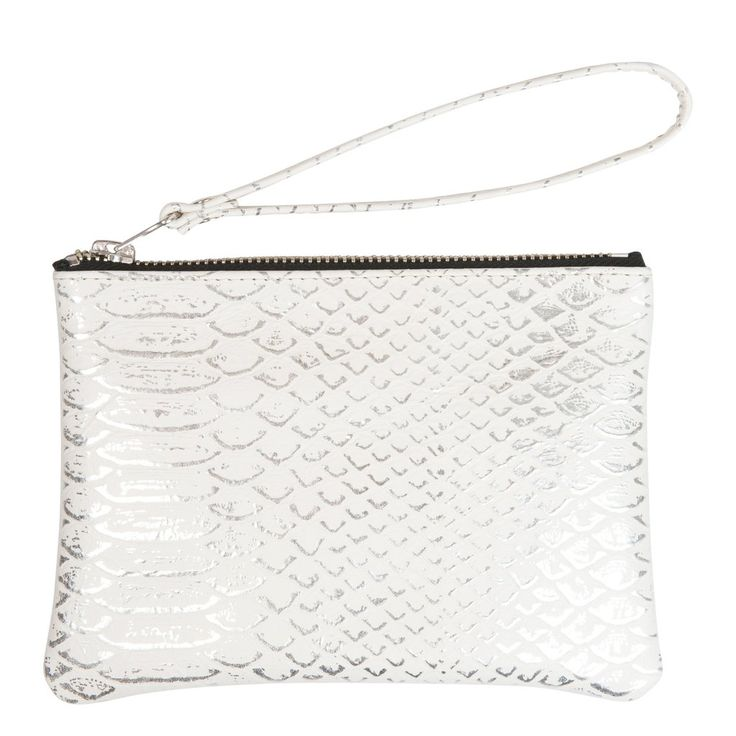 Wristlet in embossed white leather