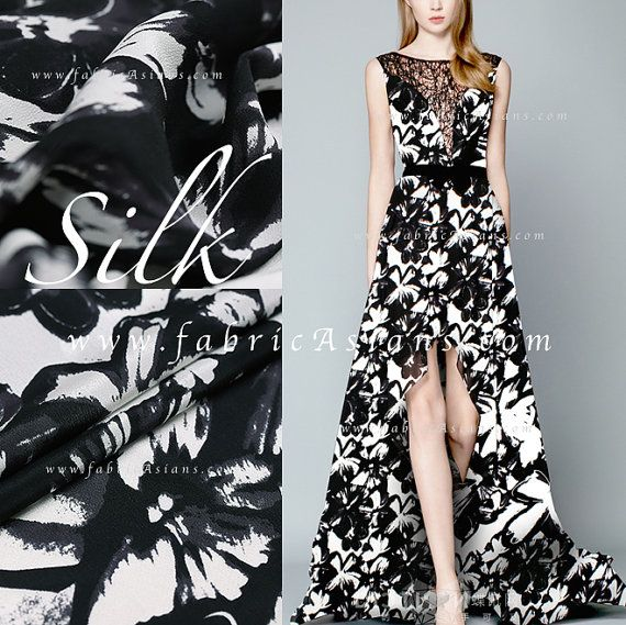 Maxi Dress. Black White Silk Fabric Floral Prints by fabricAsians on Etsy