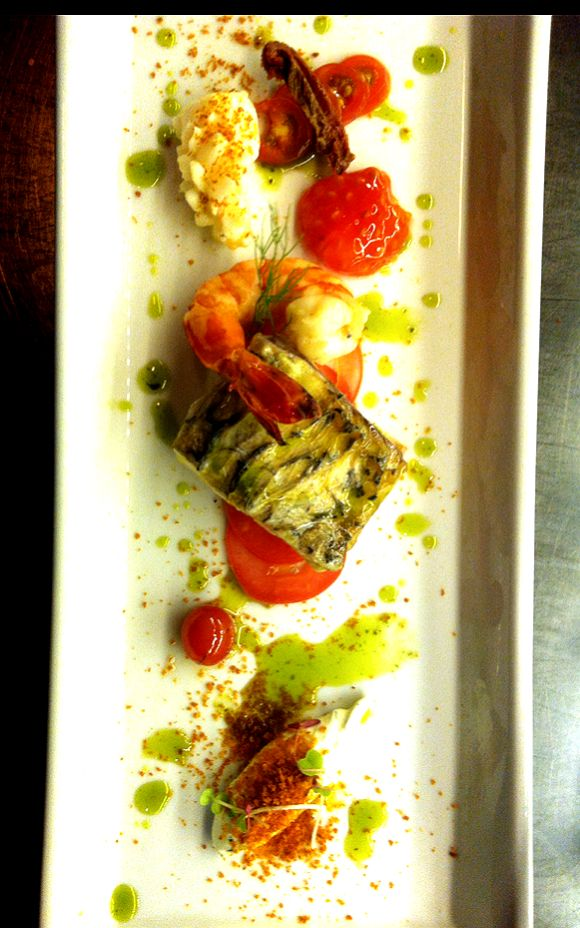 60* degrees celcius Poached butter seafoods, tomato ash, dill sour cream, dill oil