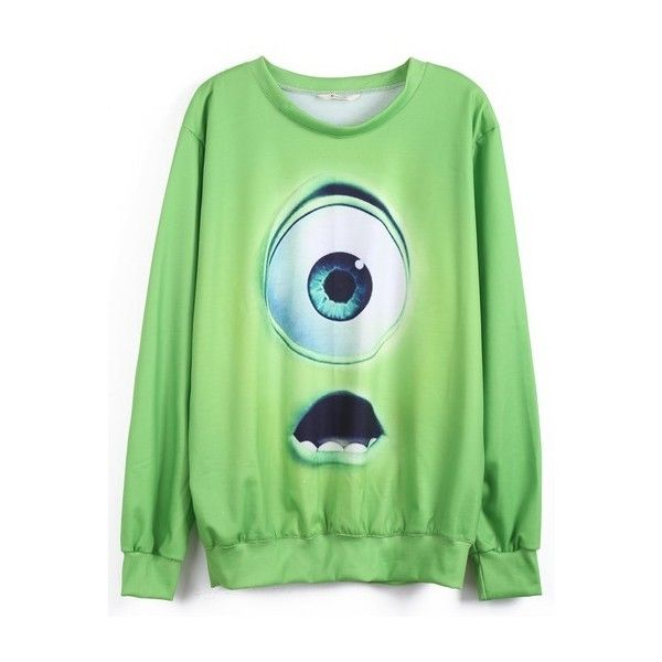 Green Monsters University Print Sweatshirt ($29) ❤ liked on Polyvore featuring tops, hoodies, sweatshirts, shirts, sweaters, galaxy print sweatshirt, green shirt, sweat shirts, galaxy shirt y shirts & tops