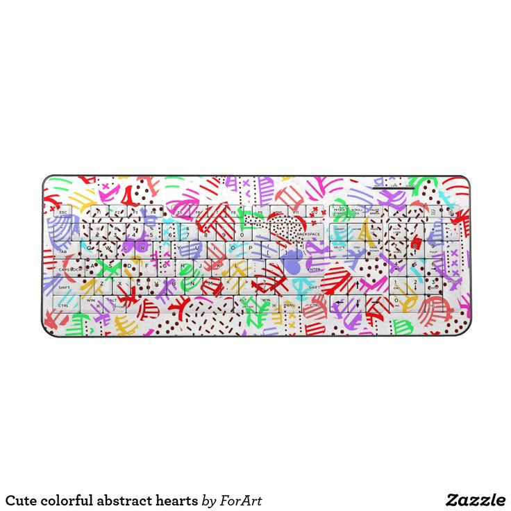 Cute colorful abstract hearts Keyboard