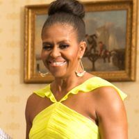Michelle Obama Is Radiant in a Neon Yellow Dress and Topknot?You Gotta See This Look!
