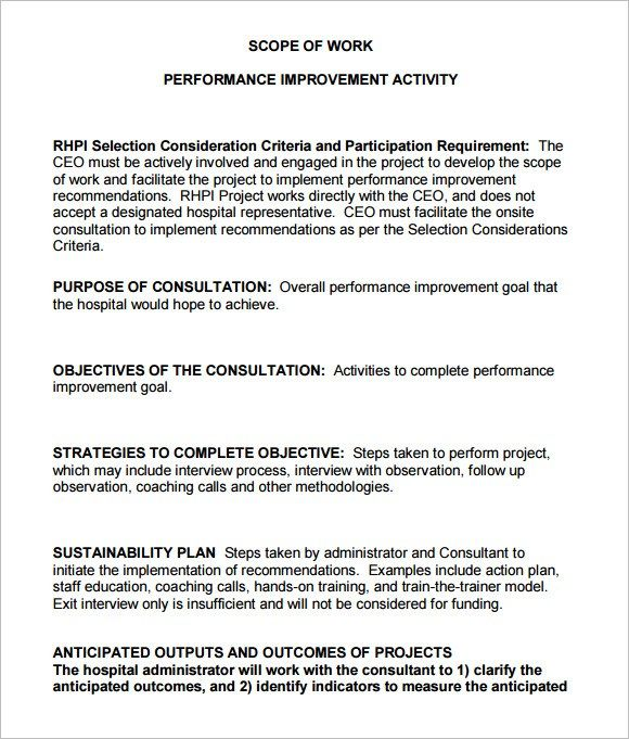 Scope Of Work Templates Templates Word Template