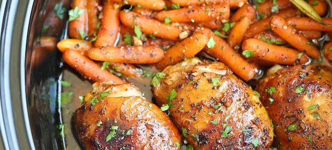 Slow Cooker Honing Knoflook Kip Met Groenten recept | Smulweb.nl