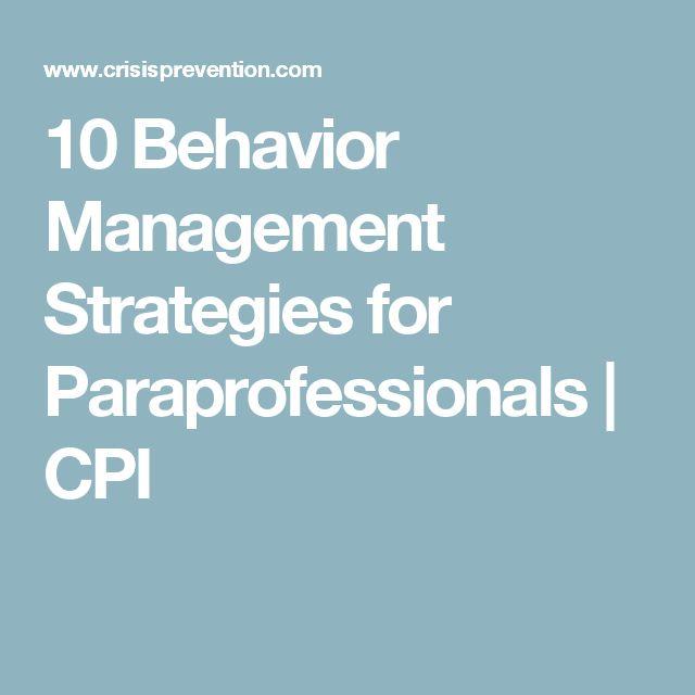 10 Behavior Management Strategies for Paraprofessionals | CPI