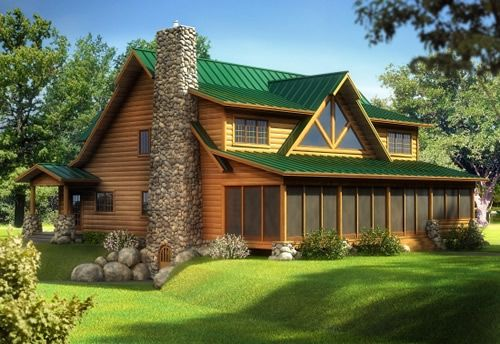 Rendering cedar home with sun porch log homes log for Sun country homes floor plans