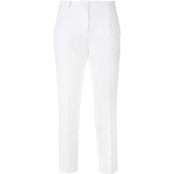 Dolce & Gabbana Cotton Jacquard Capri Trousers ($895) ❤ liked on Polyvore featuring pants, capris, cropped pants, cropped trousers, cotton capri pants, jacquard pants and dolce&gabbana