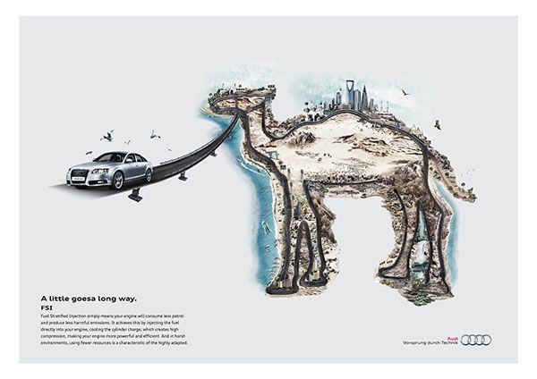 Print ads launching progressively in the year 2010 the efficient technologies of AUDI  in the Middle east.