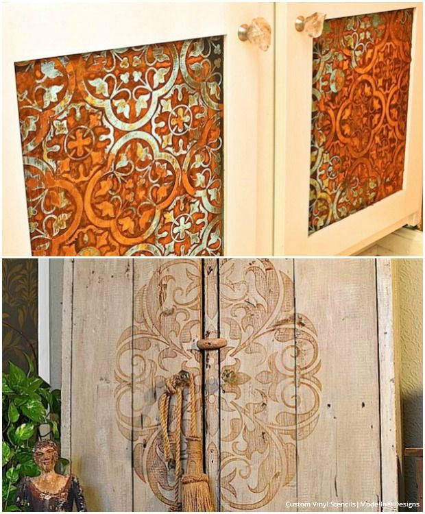 20 diy cabinet door makeovers with furniture stencils diy cabinets design and furniture. Black Bedroom Furniture Sets. Home Design Ideas