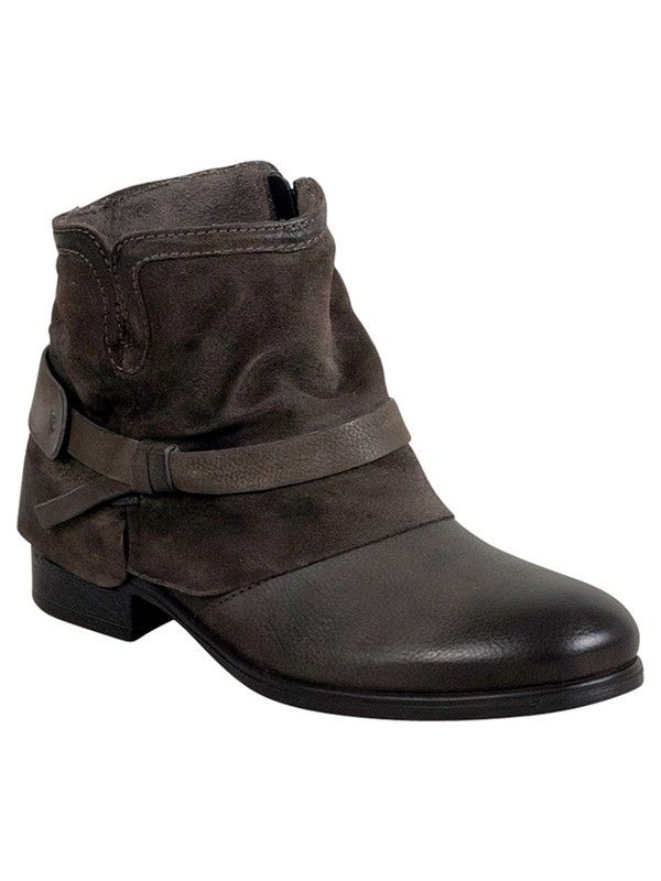 The Miz Mooz Seymour bootie features a knotted ankle harness and side  zipper