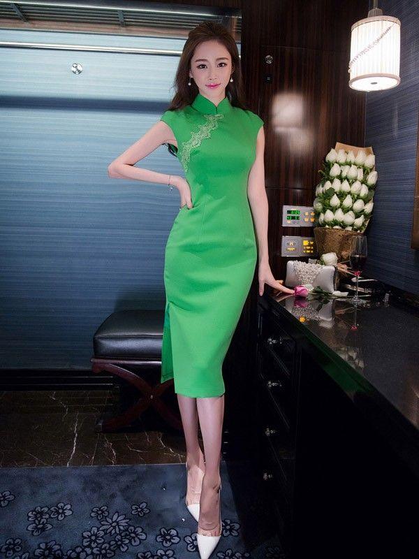 Midi Modern Qipao / Cheongsam Dress - CozyLadyWear