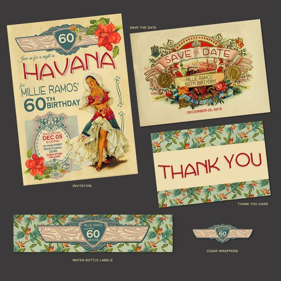 Havana Nights Cuban Birthday Party Save the Date by NuanceInk