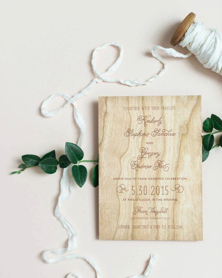 Wood Veneer and Watercolor Floral Wedding Invitations