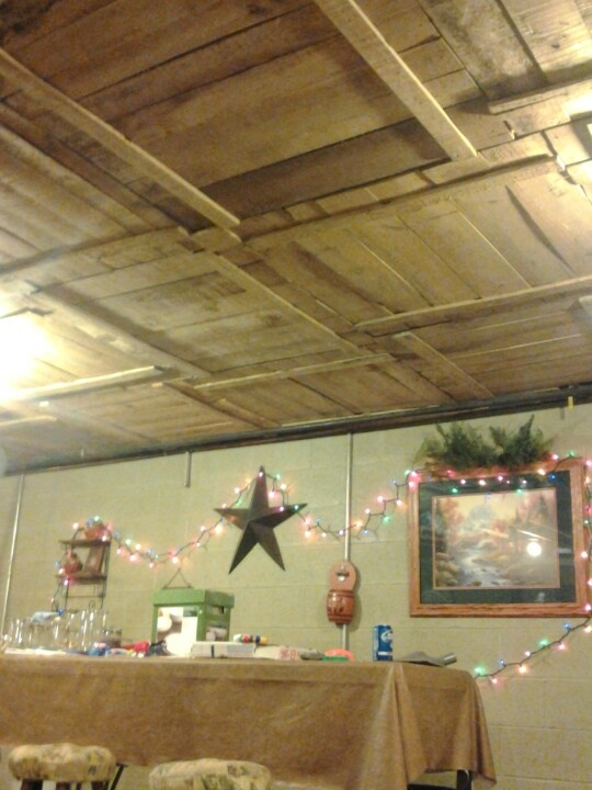 DIY Basement Ceiling With Old Pallet Crate Lids   20 Cool Basement Ceiling  Ideas