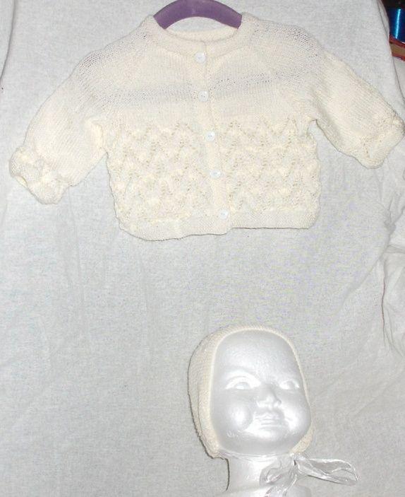 Ny strikket jakke med kyse 0/3 mnd