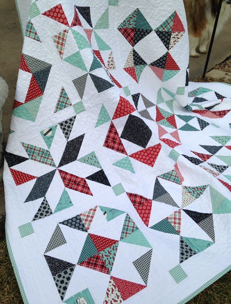 Feed Company Half-Square Triangle quilt.