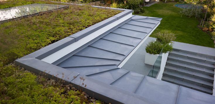 green roof with zinc or metal canopy