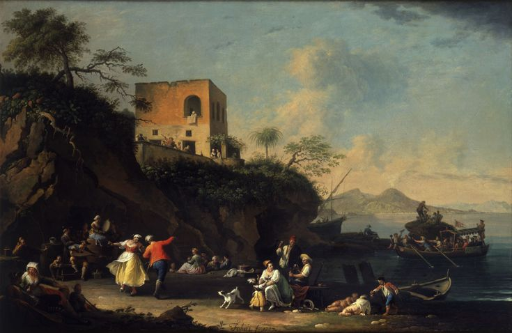 Peasants Merry-Making on the Shore at Posillipo ; Artist: Pietro Fabris ; Year: 1777