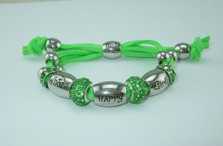 """Whoza BRAVE Girl? Bright Green Shamballa Bracelet. - Note """"HAPPY"""" bead will be replaced with a """"BRAVE"""" bead."""