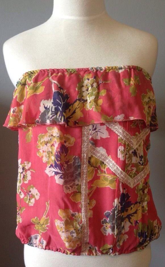 Ralph Lauren Denim Tube Top Medium Pink Ruffle Strapless Shirt Floral Womens Nwt & 9 best Strapless shirts images on Pinterest | Strapless shirt ... pillowsntoast.com
