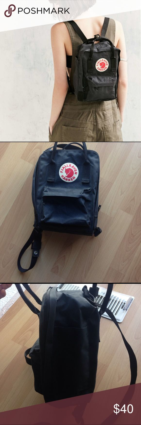 Fjallraven Kanken Mini Backpack Some natural fading, but otherwise no flaws. Zippers are in excellent condition. Color is black. Mini-size so perfect for bringing along anywhere. Fjallraven Bags Backpacks