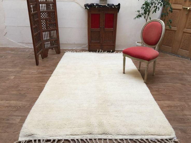 Soft Beni Ourain 5x8 Luxurious Solid Rug Berber Moroccan 100% handmade rug Kilim Teppich Tapis, Boucherouite Rug, rug