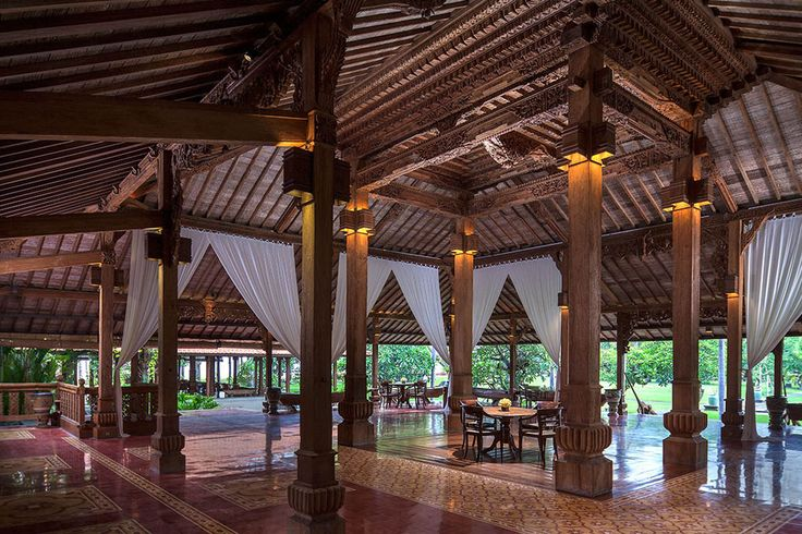 Could you imagine your wedding reception in this open air pavilion? Soaring timber ceilings and intricate carvings, this is the perfect all-weather dining area.