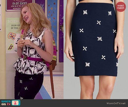 Liv's jewelled skirt on Liv and Maddie.  Outfit Details: http://wornontv.net/44698/ #LivandMaddie