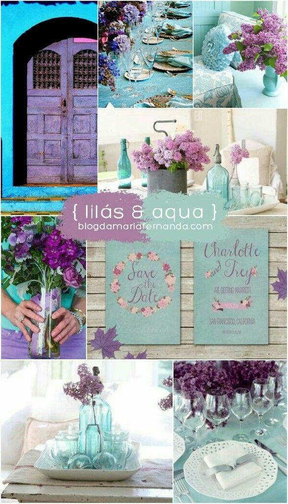 Paleta de cores lilás e aqua.  Veja mais aqui https://www.casamentos.com.br/comunidade