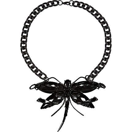 Black Dragonfly statement necklace - necklaces - jewellery - women