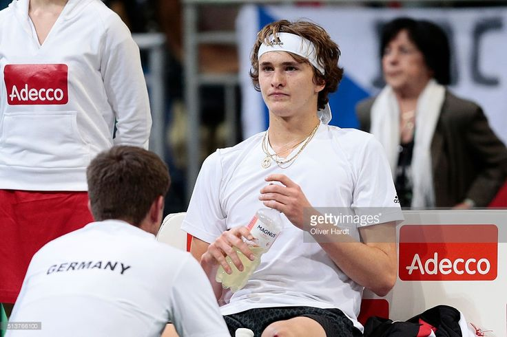 Alexander Zverev of Germany appears frustrated in his match against Tomas Berdych of Czech Republic during Day 1 of the Davis Cup World Group first round between Germany and Czech Republic at TUI Arena on March 4, 2016 in Hanover, Germany.