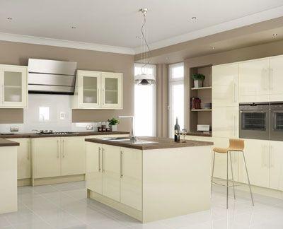 Cut price kitchens monaco kitchen slab style door in a for White gloss kitchen corner unit